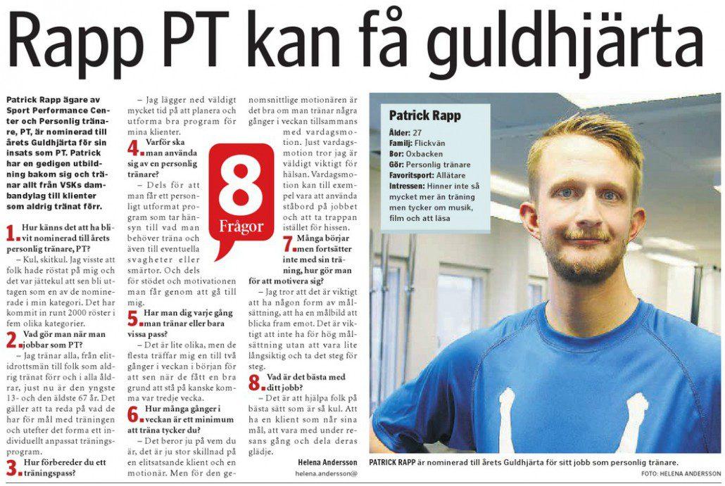 Västerås tidning 2014 10 08 patrick rapp pt personlig tränare personlig tärning gå ner i vikt bli stark västerås tidning vlt