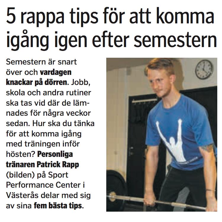 2015 08 22 Västerås tidning pt komma igång personlig tränare träning personal trainer training patrick rapp vlt outdoor malmqvist jimmy