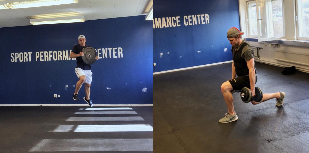Hockeyspelarna Michael Backlund och Jesper Cederberg tärnar grenspecifik fysträning på Sport Performance Center