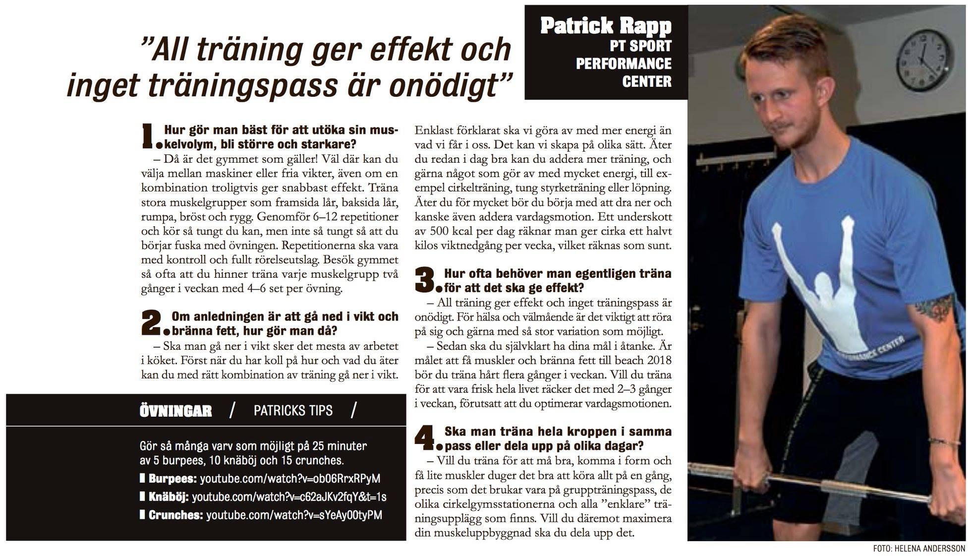 Personliga tränare Patrick Rapp intervjuades i Västerås Tidning om träning
